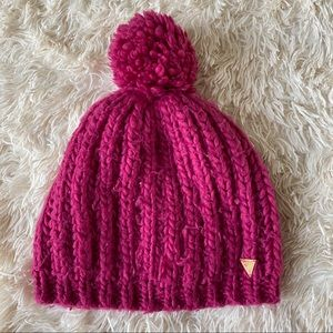 🔥3 for $20🔥 Guess Pink Pom Knit Acrylic Beanie